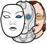 Personified Systems logo -- 3 faces: a robot with a mask in front and a human behind it.